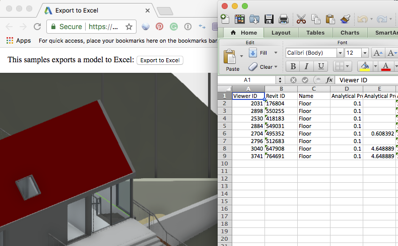 viewer-javascript-extract spreadsheet | Extract Revit